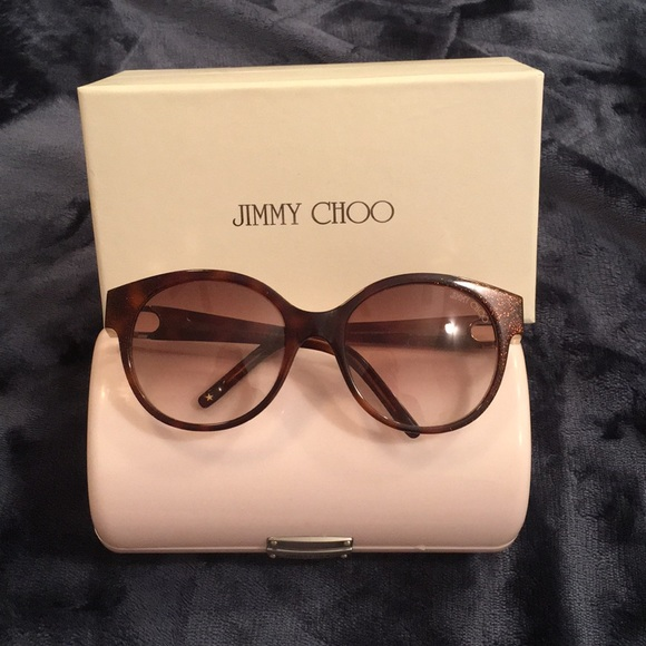 a468f2a6acb Jimmy Choo Allium Sunglasses Glitter Tortoise